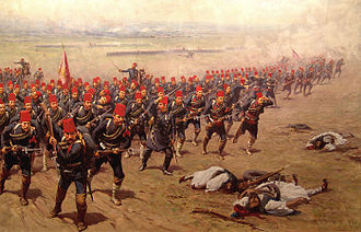 Battle of Domokos - The Attack, a painting of the Ottoman forces at Domokos, by Fausto Zonaro.