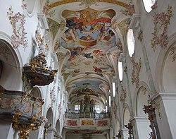 D-7-79-184 7 Moenchsdeggingen Klosterkirche Mittelschiff-gegen-West 14.jpg