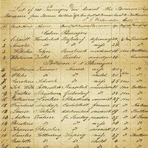 German Emigrants Database - Passenger manifest from 1853