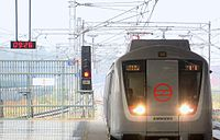 Front view of Delhi Metro Train