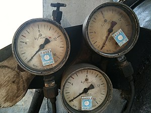 Kilogram-force per square centimetre - Soviet-made pressure gauges using kgf/cm2.