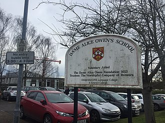 Dame Alice Owen's School - Image: Dame Alice Owen's Sign