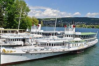 <i>Stadt Zürich</i> (ship, 1909) steam paddle ship on Lake Zurich in Switzerland