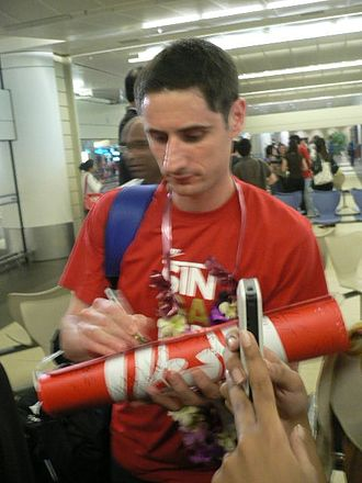 Daniel Bennett (footballer) - Daniel Bennett at Changi Airport, returning home with the triumphant Singapore team after the 2007 ASEAN Football Championship final.