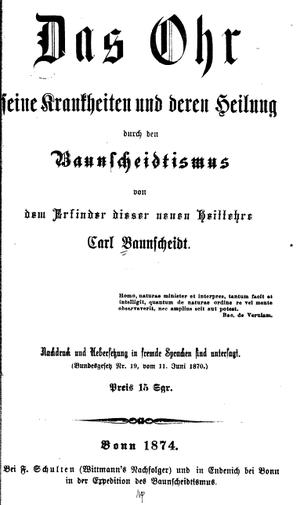 Baunscheidtism - Title page of Das Ohr (The Ear) by Carl Baunscheidt