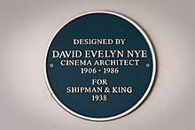 Designed by David Evelyn Nye, Cinema architect, 1906-1986, for Shipman & King 1938