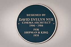 Photo of David Evelyn Nye blue plaque