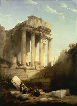David Roberts [Public domain], via Wikimedia Commons, Baalbec - Ruins of the Temple of Bacchus, 1840