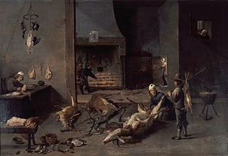 Kitchen interior with cooks preparing hunting game