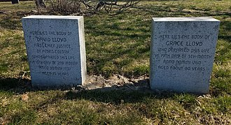 David Lloyd (judge) - David and Grace Lloyd Headstones in the Old St. Paul's Episcopal Church burial ground in Chester, Pennsylvania