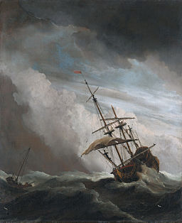 De Windstoot - A ship in need in a raging storm (Willem van de Velde II, 1707)