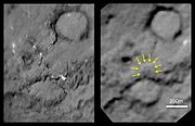 'Before and after' comparison images from Deep Impact and Stardust, showing the crater formed by Deep Impact on the right hand image.
