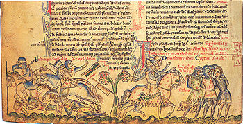 The defeat of the Crusaders at Gaza, depicted in the Chronica majora of Matthew Paris, 13th century