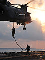 Defense.gov News Photo 110324-N-ZS026-196 - U.S. Marines assigned to the 13th Marine Expeditionary Unit drop from a CH-46 Sea Knight helicopter assigned to Marine Medium Squadron 163 to the.jpg