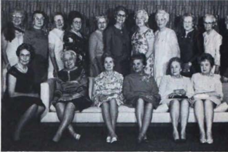 Della Prell Darknell Campbell - Charter and 5O year members who were present to celebrate the Golden Anniversary of Gamma Eta Chapter were, front, left to right, Ruth Cresswell Kettunen, Bernadine Wiese Helton, May Springer Cornwell, Ione Anderson Funk, Margaret Beinhort Brunton, Avis Corey Nolte, Annabel Wells Leach; back, Belle Wenz Dirstine, Olga Edwins Fritzberg, Dorothy Jacobs Goettge, Hazel Huffman Greer, Carrie Ott Rendle, Anna Scott King, Esther Eiffert, Charlotte Davies King, Elva Carey Worthen, Wilma Porter Yoder and Della Prell Campbell, all Gamma Eta Washington State