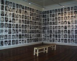Pictures of persons missing after the 1973 Chilean coup, at an exhibition in 2003. Image: Marjorie Apel.