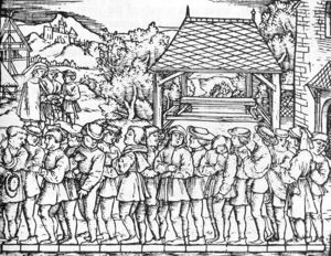 Foot (unit) - Determination of the rod, using the length of the left foot of 16 randomly chosen people coming from church service. Woodcut published in the book Geometrei by Jakob Köbel (Frankfurt, c. 1536).