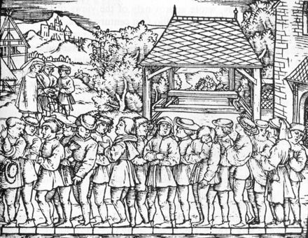 Determination of the rod, using the length of the left foot of 16 randomly chosen people coming from church service. Woodcut published in the book Geometrei