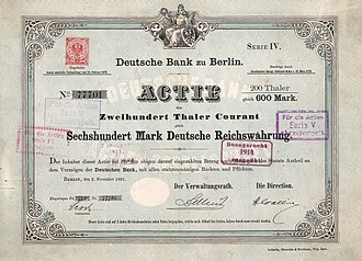 Deutsche Bank - Share of the Deutsche Bank, issued 2. November 1881