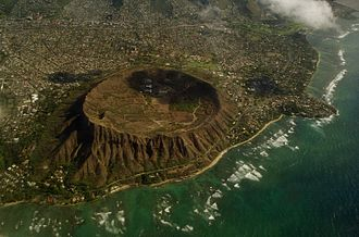 Kāhala, Hawaii - Aerial view of Diamond Head with Kahala to the upper right