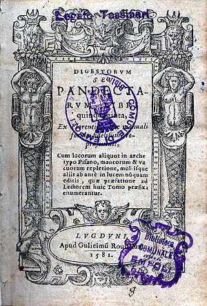 The Pandects, a compendium of Roman law which ...