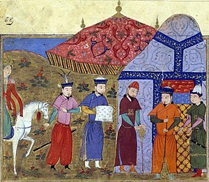 Mongol siege of Kaifeng - Genghis Khan receiving Jin envoys