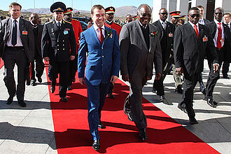 Namibia–Russia relations - Namibian President Hifikepunye Pohamba greets Russian President Dmitry Medvedev in Windhoek on 25 June 2009.