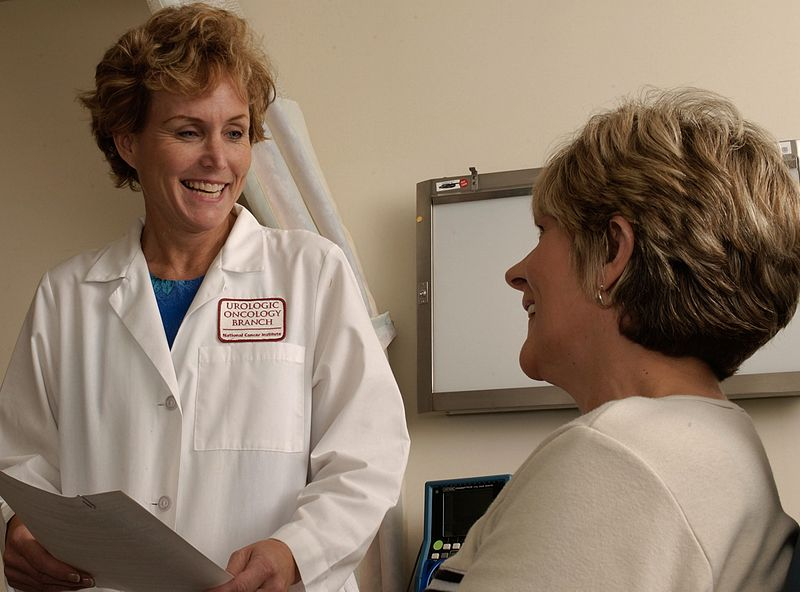 File:Doctor talking with a patient.jpg