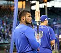 Dodgers outfielder Yasiel Puig looks on during batting practice before NLCS Game 6. (30388282882).jpg