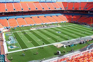 The interior of Dolphin Stadium in Miami, Flor...