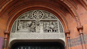 Sculpture above doorway French Protestant Chur...