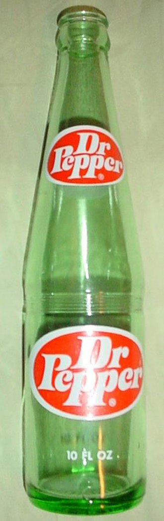 Dr Pepper - Glass bottle of Dr Pepper featuring the 1970s logo
