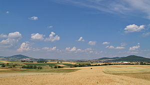 Rhön Mountains - The southern mountains of the Brückenau Kuppenrhön: the Dreistelzberg (left) and Mettermich (right)