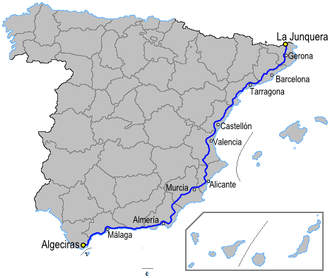 European route E15 - The Autopista AP-7 part of the E15 in Spain