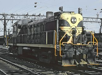 Erie Railroad - An Alco RS3 with Erie Railroad markings at Hoboken terminal, September 3, 1965