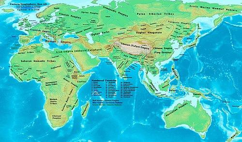 Мапа східної півкулі на 800 рік