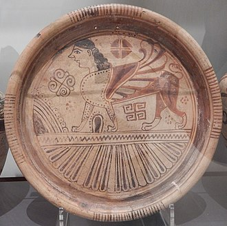 Wild Goat Style - Plate in the 'Wild Goat' style, showing a sphinx with geometric and floral motifs above a zone of petals