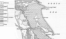 En svartvit linje ritning av de geologiska zonerna vid East Riding of Yorkshire