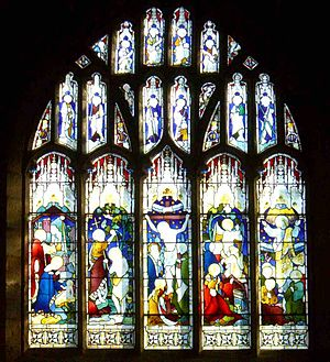 Church of St Nicholas, Bradfield - The East window was made by the John Hardman studio in Birmingham