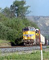 Eastbound Freight, San Timoteo Canyon, Redlands 4-2012 (7129235199).jpg