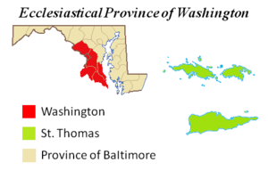 Roman Catholic Archdiocese of Washington - Ecclesiastical Province of Washington map