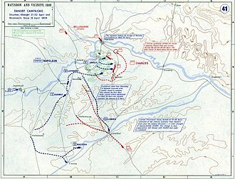 Battle of Eckmühl - Location of forces as of Midnight, 21–22 April 1809