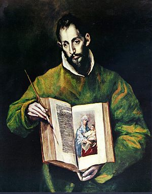 Saint Luke painting the Virgin - El Greco, 1608, Toledo.