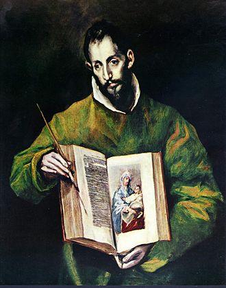 Saint Luke painting the Virgin - El Greco, 1608, Toledo.