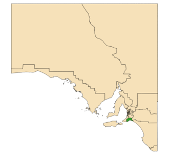 Electoral district of Finniss - Electoral district of Finniss (green) in South Australia