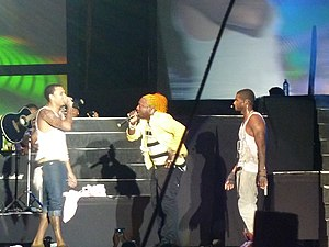 Raymond v. Raymond - Usher with Chris Brown and Elephant man at the Reggae Sumfest in 2010