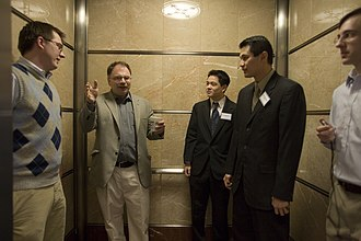 Wake Forest University School of Business - MBA students pitch their ideas during the Elevator Competition.