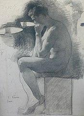 Nu masculino sentado