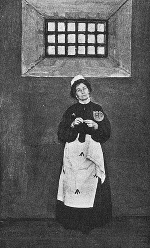 1913 in the United Kingdom - Emmeline Pankhurst in prison dress.