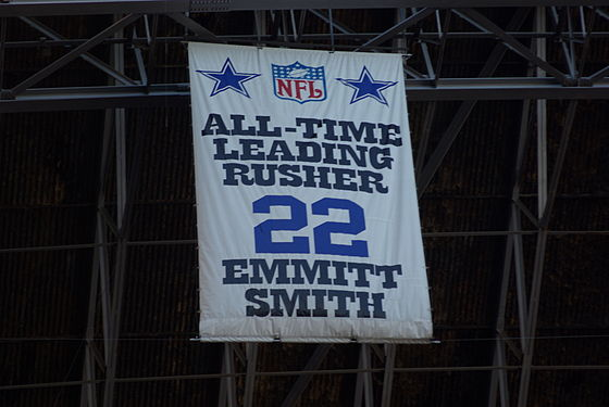 Fan banner honoring the NFL's all-time leading rusher banner at Texas Stadium. Emmit Smith Rushing Banner.JPG